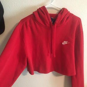 trendy cropped red nike hoodie